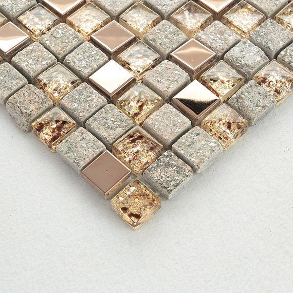 "Gray and Rose Gold OX022-11.7 ""x 11.7"" Stone Mosaic Mixed Glass & Stainless Steel Accent Wall Tiles, Clear Crystal and Metal Backsplash Tiles"