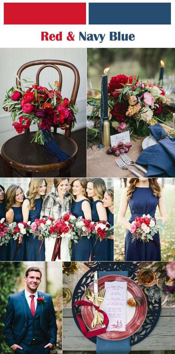 red and navy blue color ideas for fall and winter weddings