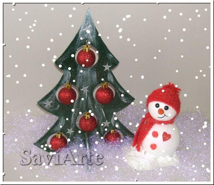 Pinheirinho de Natal e boneco de neve