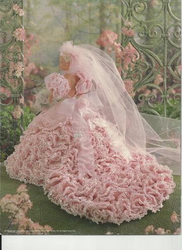 1997 ANNIES - CROCHET PINK BRIDAL BLUSH WEDDING DRESS - CROCHET BRIDAL GOWN by vingurl53
