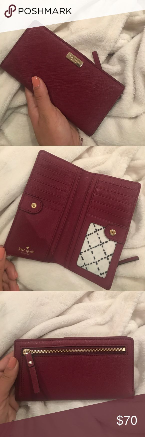 Kate Spade Cameron Street Stacy Wallet Dark Red Kate Spade Cameron Street Stacy Wallet in Wine / Dark Red. Perfect condition, never used! Make me an offer! kate spade Accessories