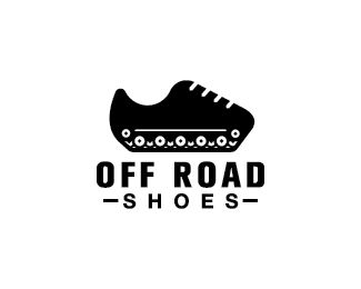 Offroad Shoes Logo design - Logo design of a pair of shoes with tank track wheels underneath. Price $260.00