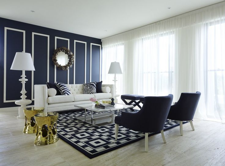 Use Tht Mirror Wall W Trim In Living Room Greg Natale   Navy Blue Room Part 37