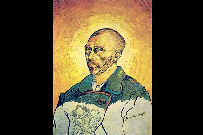 """Учеба при свечах. Вокруг картины """"Учеба при свечах"""" до сих пор ведутся споры - принадлежит ли она кисти Винсента Ван Гога, или же она является подделкой, как утверждает его племянник. Картина выглядит как автопортрет Ван Гога, но ее нижняя треть не завершена, а также содержит странное изображение, похожее на актера японского кабуки. Это изображение в нижней части автопортрета было дорисовано чернилами, а не красками."""