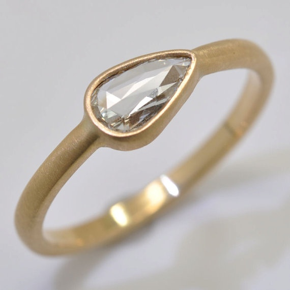 One of a kind! Rose-Cut Diamond Ring in 18k Gold, $1350