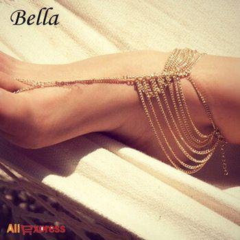 bella ücretsiz kargo büyük satış 2015 yeni plaj moda bilezik zincir bağlantı ayak takı halhal
