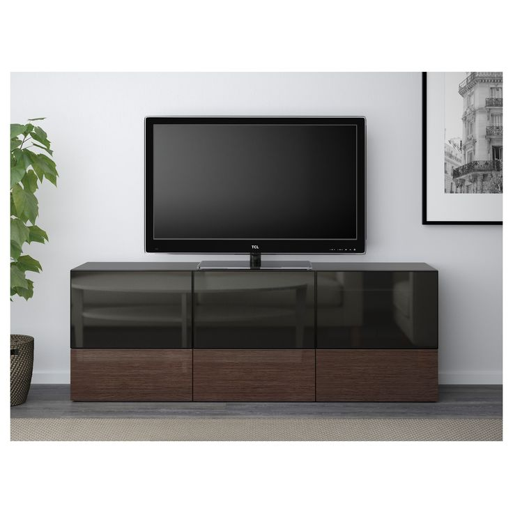 best tv unit with doors and drawers blackbrown selsviken high glossbrown smoked glass