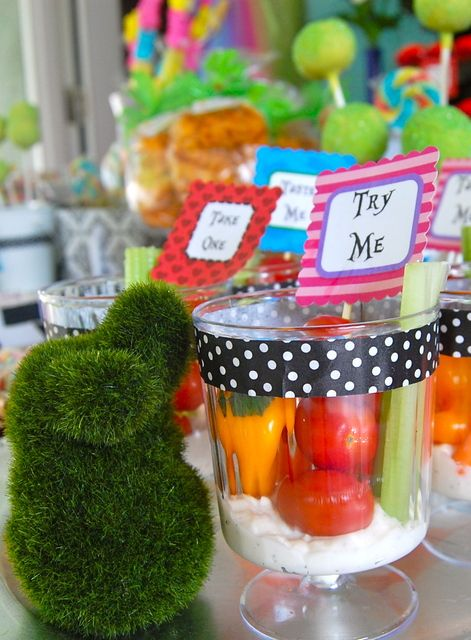 Veggies and dip at a Alice in Wonderland Party #aliceinwonderland #party