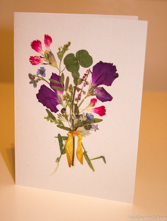 Mothers day card Birthday card Get well card Unigue OOAK Handmade A6 Pressed and dried flowers Herbarium Ochibana Collage Cloves Eucalyptus