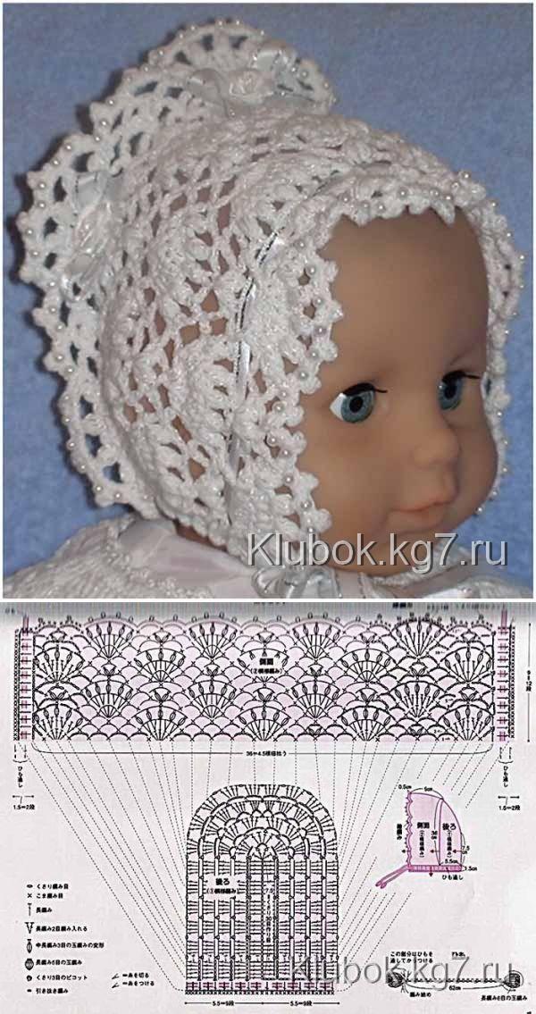 Для новорожденных красавиц: чепчик крючком | Клубок