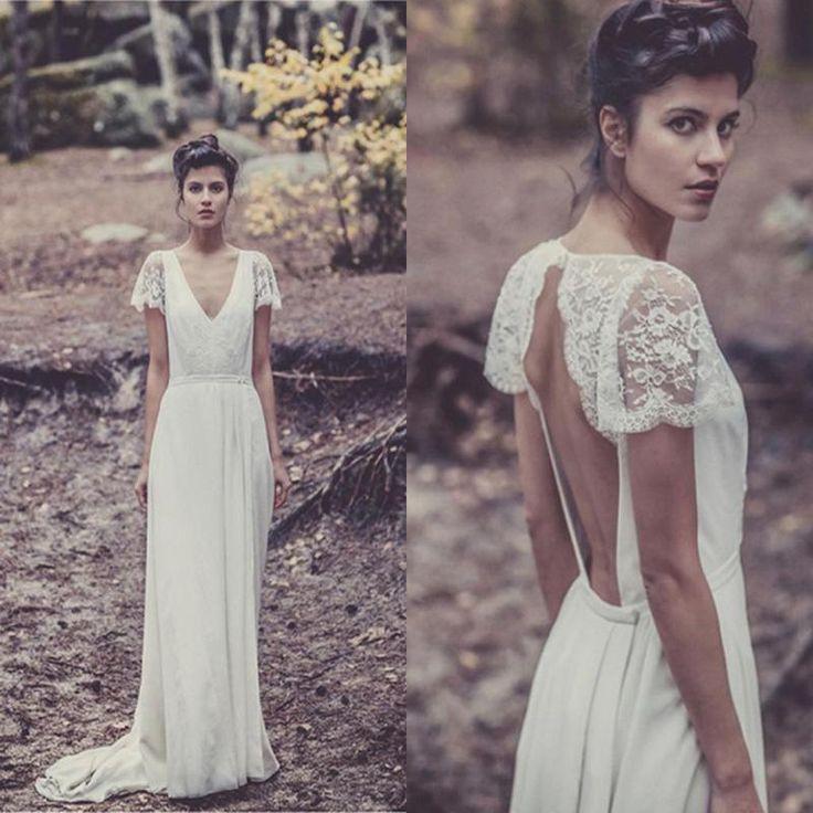 2015 Bohemian Wedding Dresses Laure de Sagazan Sheath Sexy Bridal Gowns Backless V Neck Boho Beach Wedding Gowns Short Sheer Lace Sleeves, $125.66 from weddingfactory on m.dhgate.com | DHgate Mobile