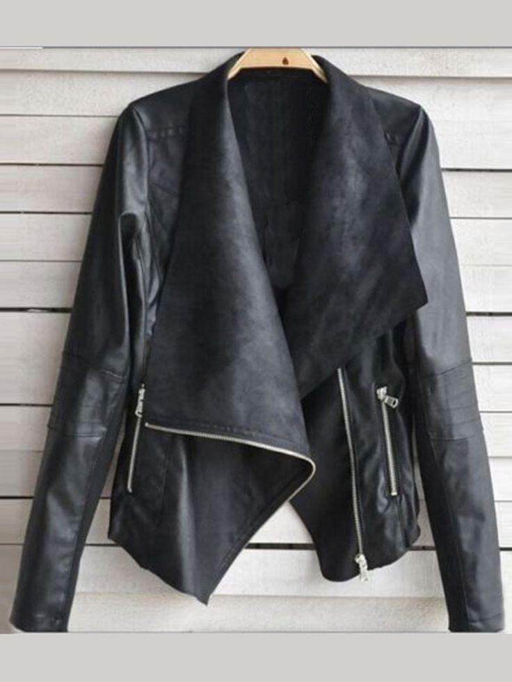 nice Women Cool PU Leather Zipper Jacket