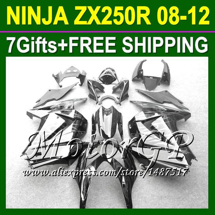 Купить товар7 подарки + для Kawasaki ниндзя 250r ZX250R ZX 250 серебро пламя 16 # 131 ZX250 2008 2009 2010 08 09 10 черный 11 12 зализа в категории Щитки и художественная формовкана AliExpress.