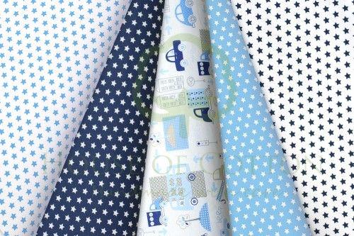 Navy & sky blue stars, houses & cars cotton fabric set / Zestaw chłopięcy