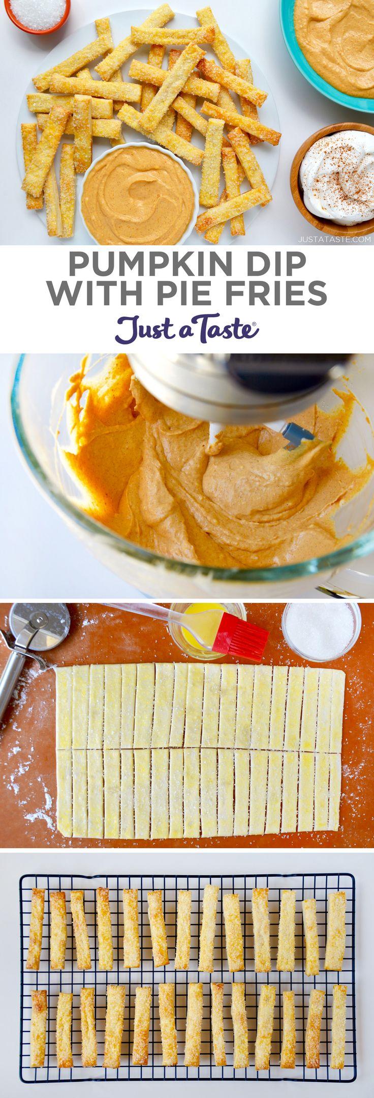 "Pumpkin Dip with Pie ""Fries"" justataste.com #pumpkin #recipe #thanksgiving"