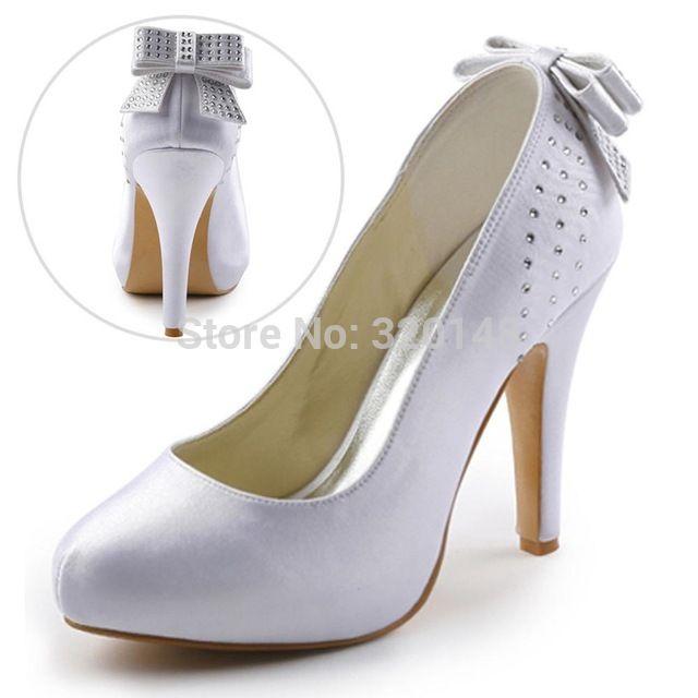 Mulheres Branco Marfim Salto Alto Plataforma Do Dedo Do Pé Fechado Bombas de Strass Sapatos de Noiva de Cetim Nupcial Evening Festa De Casamento EP11034 Bege