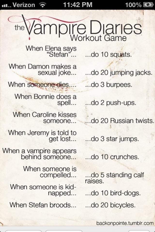 The Vampire Diaries Workout - no idea if I'm actually gonna do this but at least pinning it is the first step, right?