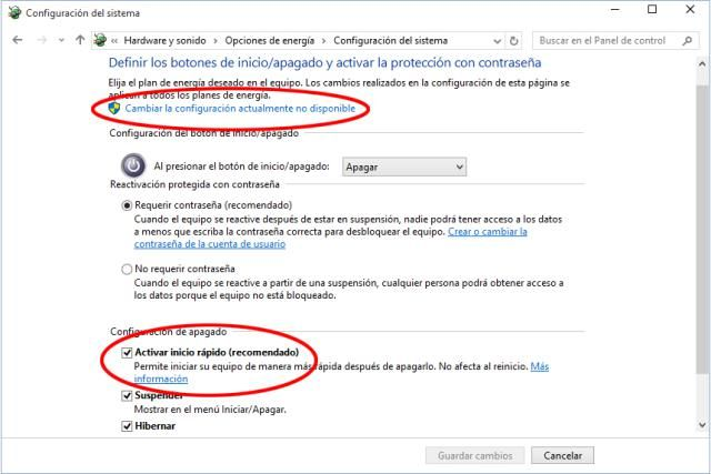 Cómo activar o desactivar el inicio rápido en Windows 10. Fallos que provoca a veces esa opción nueva y forma de solucionarlos.