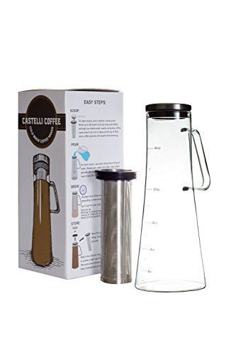 Cold Brew Iced Coffee Maker - Larger Capacity and Airtight Fresh Seal 1.2 Liter 40 oz - Glass Tea Infusion Pitcher Stainless Steel Filter
