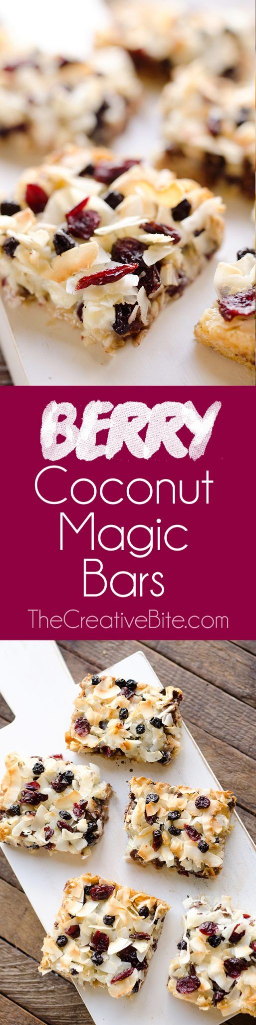 Berry Coconut Magic Bars are amazingly easy to whip together and have the great flavors of chocolate and dried berries for a fun twist on a classic dessert. #MagicBars #Dessert #Berry
