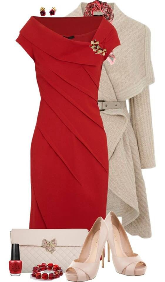 Nice red dress/beige jacket combo