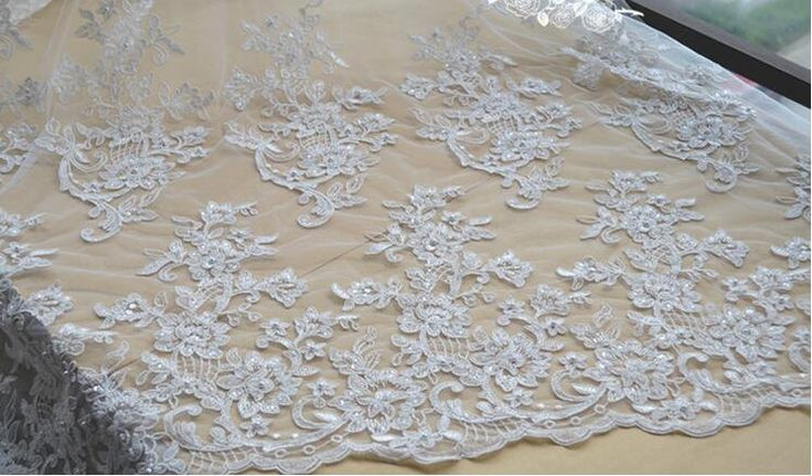 Fashion beaded lace fabric with 3D flower bridal lace fabric,elegent 3D lace fabric guipure lace fabric for wedding dress,alencon lace by AnnabelleDIY on Etsy