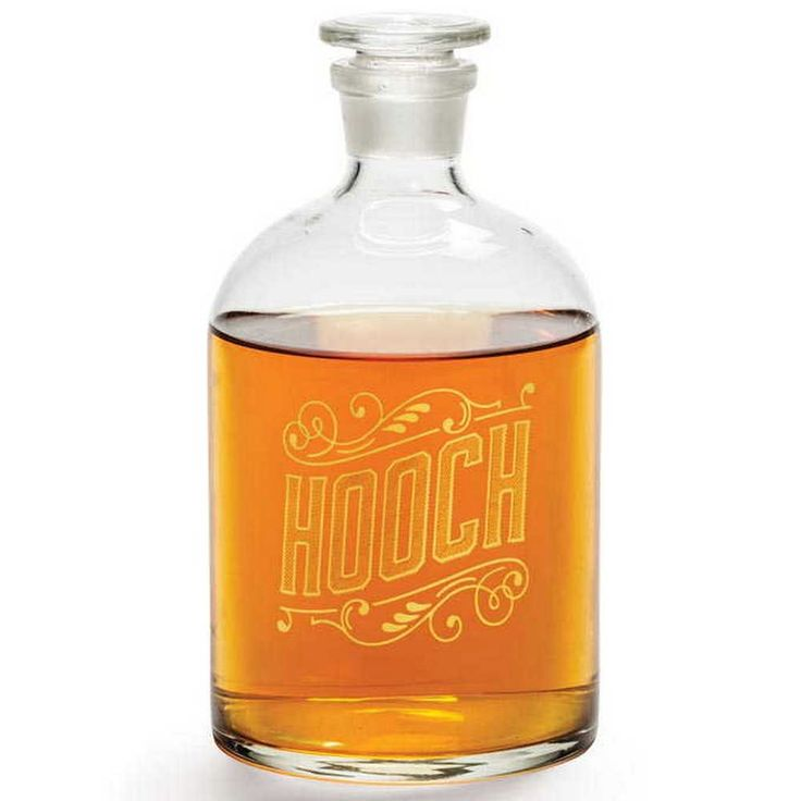 "Hooch Decanter  Bottle your spirits with a hand-blown Booze or Hooch glass decanter that features mirror-finish lettering. Hand wash. 3 5/8"" L x 3½"" W x 8¼"" H.  #decanter #hooch #bar #baraccessories #bar #bartender #cocktails #drinks #cocktail #pub #drink #mixology #restaurant #beer #liquor #drinkup #thirsty #vodka #mixologist #beers #drinking #slurp #happyhour #wine #alcohol #thirst #lounge #cocktailbar #rum #бар #whiskey #gin #drunk #bartending"