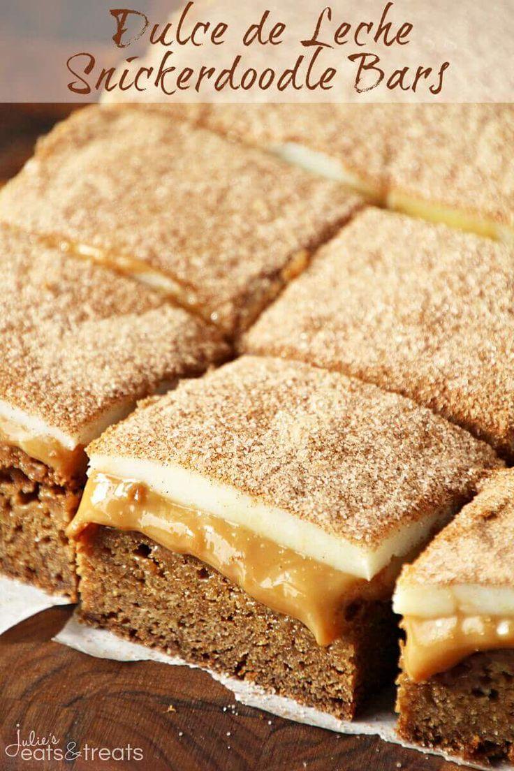 Dulce de Leche Snickerdoodle Riegel ~ Chewy Snickerdoodle Crust garniert mit …