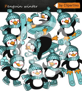Penguin Clipart includes 18 files PNG transparent background 9 color files+9 black white Size one file about 6 inch 300 dpi Original authoring technique, boldly use for commercial purposes. Create your own products and sell them. set includes; penguin on skis penguin on snowboard penguin on skates the penguin rolls down the hill the penguin blows into the snowballs penguin on the sled