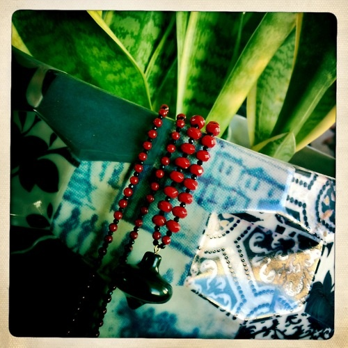 """""""Penelope""""Necklace  Black top pendant, red coral, black onyx"""