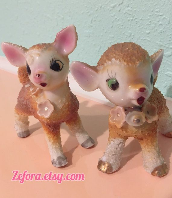 Lot Of 2 Vintage Anthropomorphic Japan Deer Fawn Ceramic by zefora