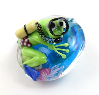 mask is a cane slice by corinabeads lampwork beads by corina tettinger