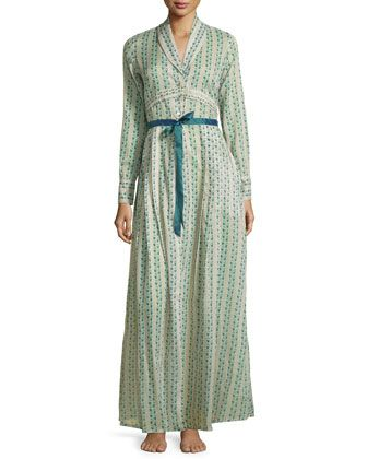 Clio+Printed+Long+Robe,+Teal+by+La+Costa+at+Neiman+Marcus.
