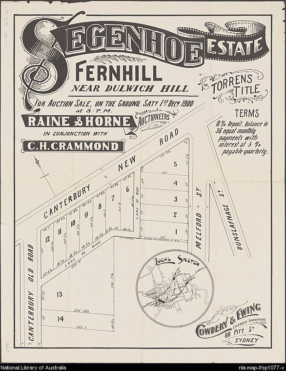 Segenhoe Estate, Fernhill. Sales plan for Fernhill (now part of Hurlstone Park), New South Wales. Includes local sketch. Courtesy National Library of Australia.