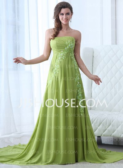 Evening Dresses - $148.29 - A-Line/Princess Strapless Chapel Train Chiffon Evening Dress With Ruffle Lace (017017354) http://jjshouse.com/A-Line-Princess-Strapless-Chapel-Train-Chiffon-Evening-Dress-With-Ruffle-Lace-017017354-g17354