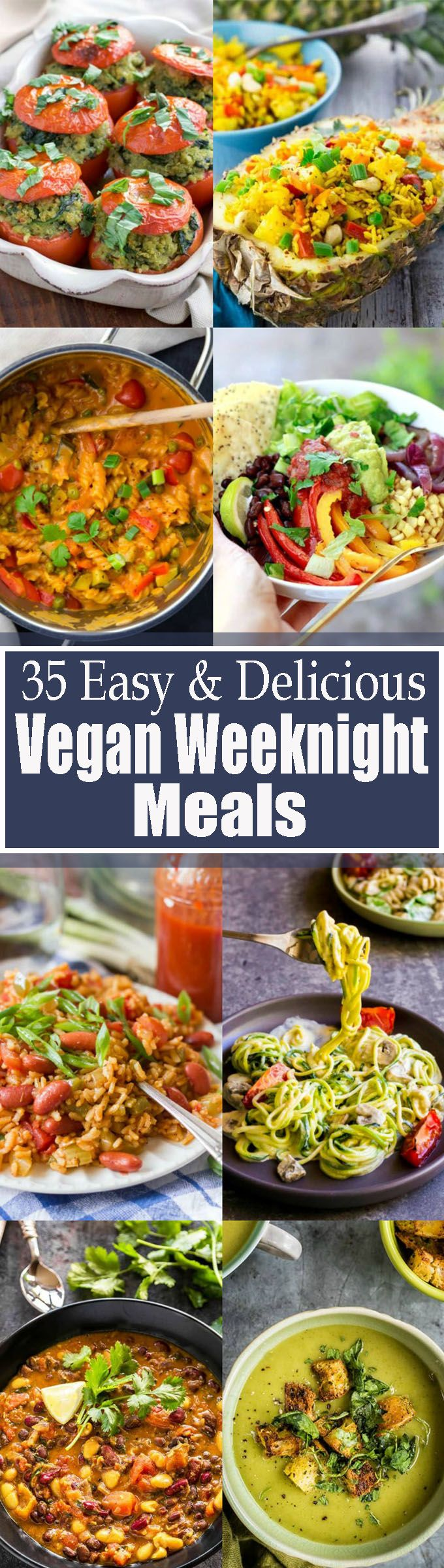 If you're looking for quick and easy vegan dinner recipes, this roundup of 35 easy vegan weeknight meals will be perfect for you! It includes vegan pasta, vegan curries, vegan one pot meals, vegan soups and sooo much more! <3