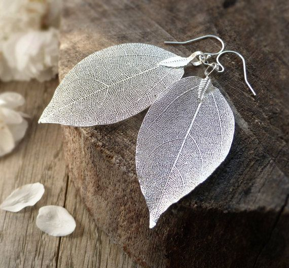 Real leaf earrings, silver dipped leaves, sterling silver, natural woodland jewelry, rustic wedding jewelry, bridal earrings,bridesmaid gift