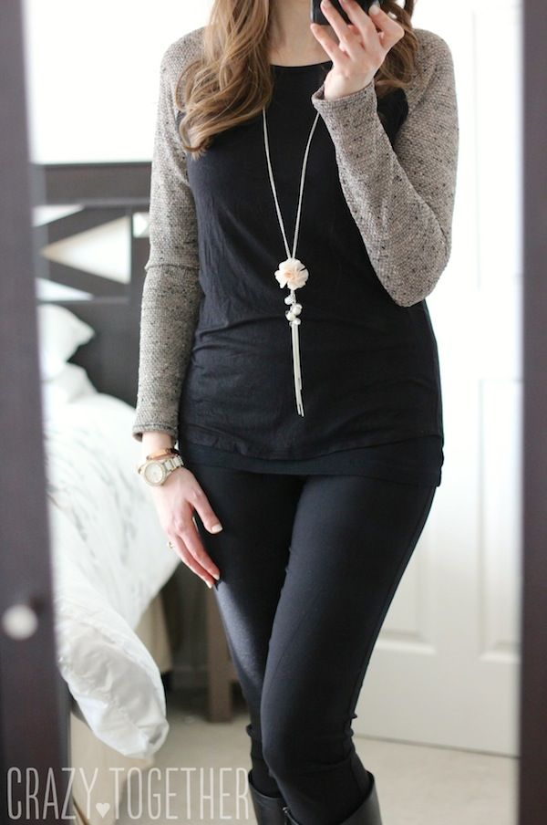 Morgan Mix Knit Raglan Top from Loveappella with Emer High Waisted Tall Trouser pants from Margaret M - January 2015 Stitch Fix review #stitchfix