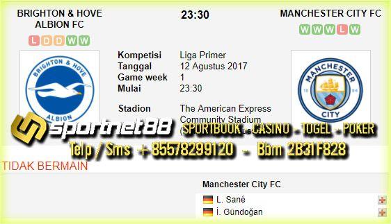 Prediksi Skor Brighton & Hove Albion vs Manchester City 12 Agt 2017 Liga Inggris di The American Express Community Stadium (Falmer, East Sussex) pada hari Sabtu jam 23:30 live di beIn Sport 1