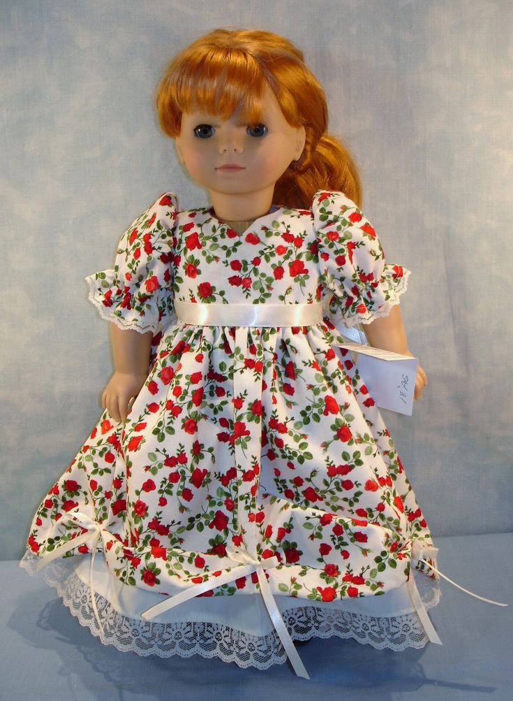 18 Inch Doll Clothes - Red Roses on Ivory Ball Gown handmade by Jane Ellen by JaneEllen2 on Etsy