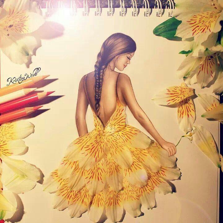 Fashion illustration #fishtailbraid #hair #braid #girl / Illustrazione Moda #trecciaaspinadipesce #capelli #treccia #ragazza - by Kristina Webb
