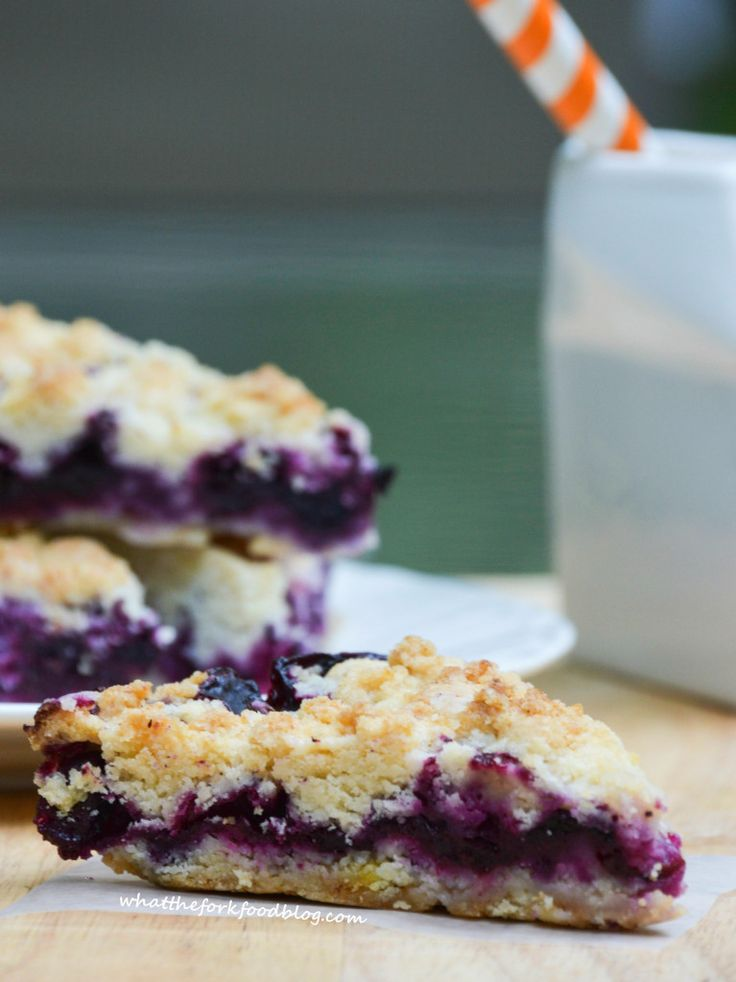 Blueberry Crumb Bars - Bursting with flavor from sweet, fresh blueberries from What the Fork Food Blog