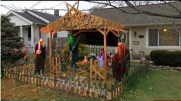 Conservative 'Christians' Whine About Man's Zombie Nativity Scene, Town Fines Him $500 A Day (VIDEO)