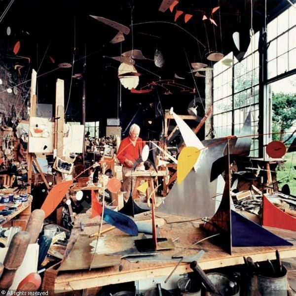 An antidote to all those pins about organizing studio space. Alexander Calder's studio. My kind of guy!