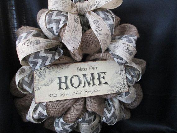 Home wreath,door decor,decoration,family wreath,welcome wreath,chevron wreath,burlap wreath on Etsy, $55.00