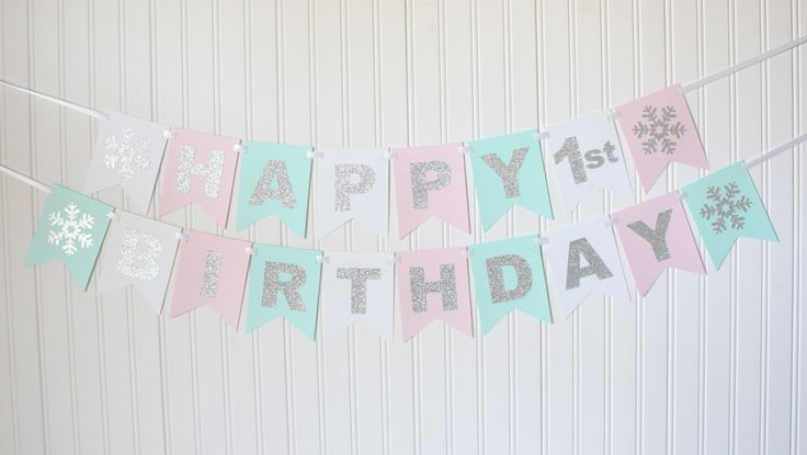 Silver, White, pink, mint Happy Birthday Snowflake Banner/ Girl Birthday/ winter wonderland Party/ ONEDERLAND / Custom Name/ Personalized by BannerBakery on Etsy https://www.etsy.com/listing/479107888/silver-white-pink-mint-happy-birthday
