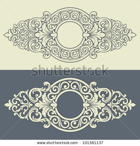 Vector vintage border frame engraving with retro ornament filigree pattern in antique baroque style decorative design