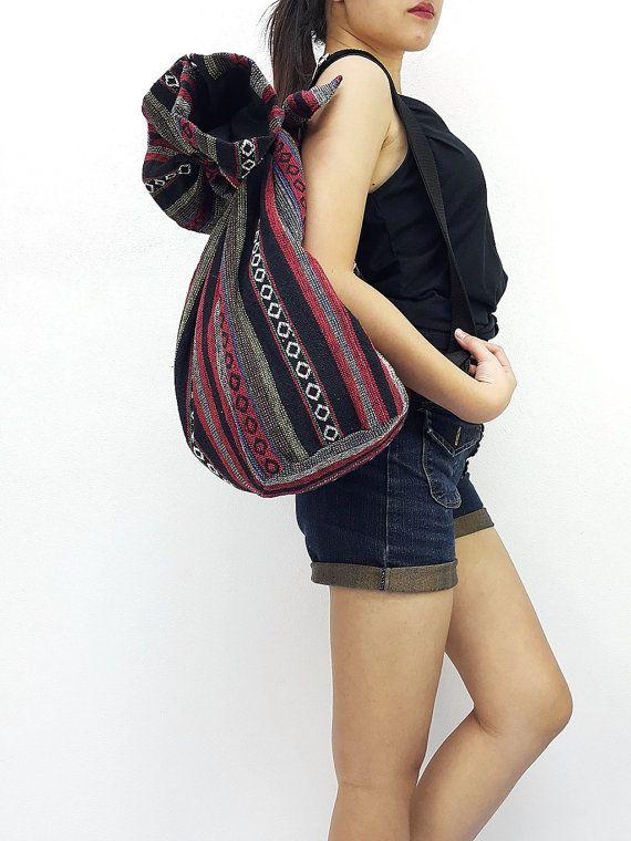 Woven Cotton Bag Single Strap Backpack Hippie Hobo by veradashop