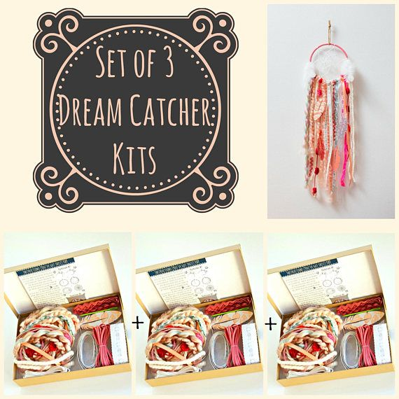 Set of 3 Pink Dream Catcher Kits. Do it Yourself Craft Kit