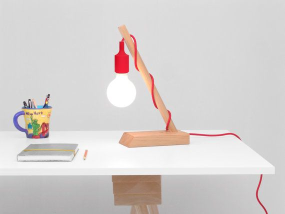Wedge Lamp: Modern Table Lamp with Colored Fabric Cords - ON SALE. Desk Lamp, Modern Lamp, Handmade, Wood Lamp, Pendant Lamp